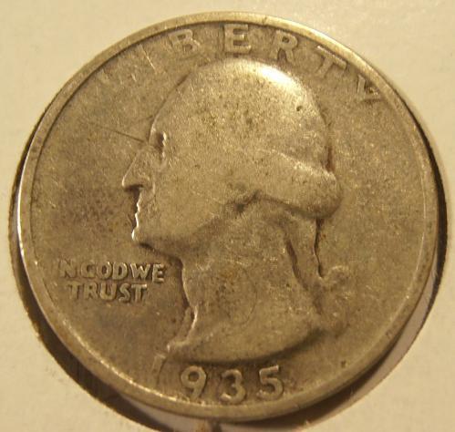 1935 S Washington Silver Quarter,  (35SEW2)
