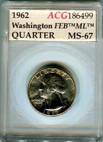 1962  Washington Quarter ACG  MS - 67