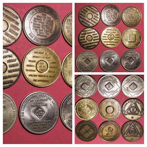 LOT OF 9 DIFFERENT NA/AA RECOVERY TOKENS