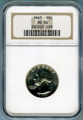 1963  Washington Quarter NGC  MS - 66
