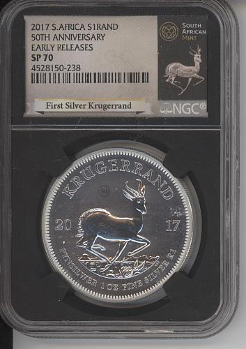 1 Rand South Africa 2017 50th Yrs. NGC graded SP 70