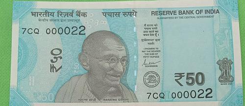 2019...7CQ  000022.. UNC India note