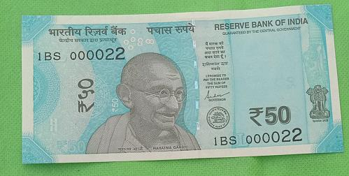 2019...1BS  000022.. UNC India note