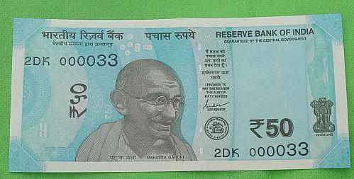 2019...2DK  000033.. UNC India note