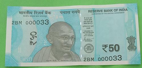 2019...2BM 000033.. UNC India note