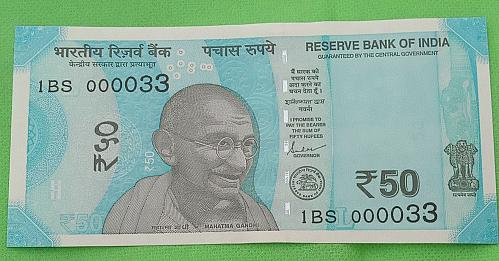 2019...1BS 000033.. UNC India note