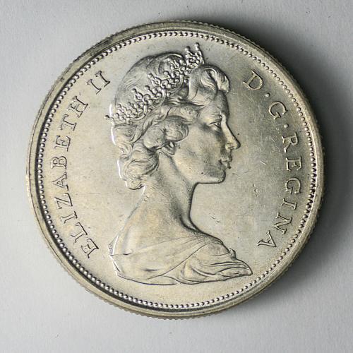 1965 Canadian silver half dollar 50 cents BU Toning