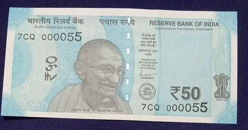 2019...7CQ 000055.. UNC India note