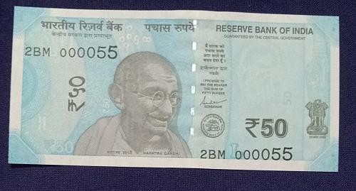 2019...2BM 000055.. UNC India note