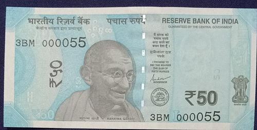 2019...3BM 000055.. UNC India note