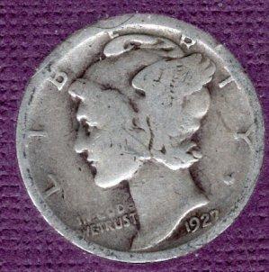 1927 P Mercury Dimes -#4a