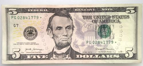 2017 $5 Federal Reserve Star Note#26  Condition as shown