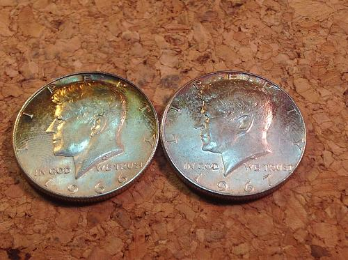 2 Nicely Toned Kennedy Half Dollars