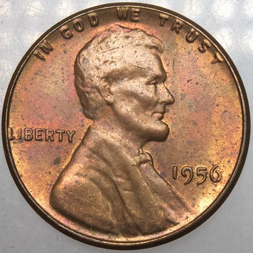 1956 P Lincoln Wheat Cent#15 TONED