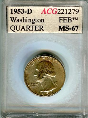 1953 - D   WASHINGTON  QUARTER   ACG  MS67