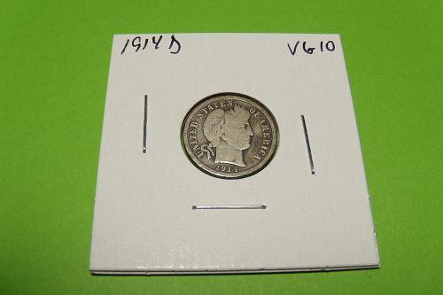 1914D Barber Dime  VG10  #10-1914D-3