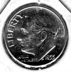 "4 - 1955-D  Roosevelt Dimes  --   ""Full Split Bands""  --   CHOICE  BU"