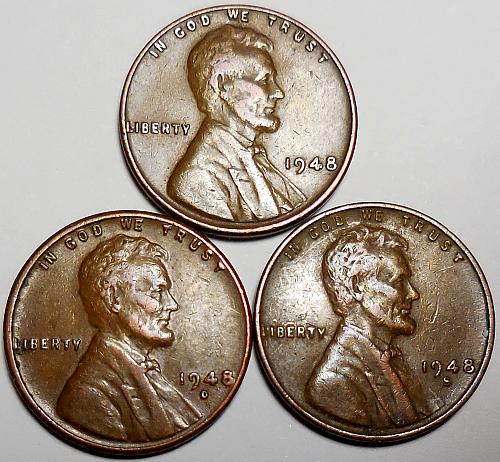 3 Lincoln Wheat Cents 1948-P 1948-D 1948-S