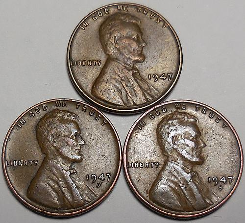 3 Lincoln Wheat Cents 1947-P 1947-D 1947-S