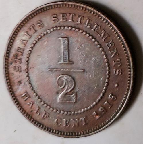 Straits Settlement 1916 Half Cent Kg Geo V  KM#28