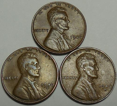 3 Lincoln Wheat Cents 1946-P 1946-D 1046-S