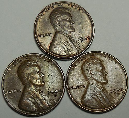 3 Lincoln Wheat Cents 1949-P 1949-D 1949-S