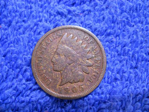 1905 Indian Head Cent. Very Good Grade. Original Uncleaned Surfaces.