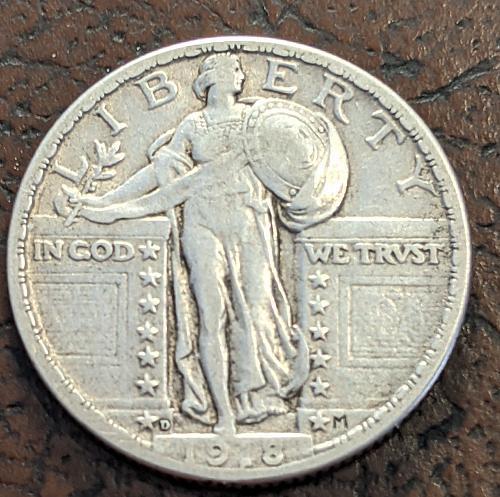 1918D VERY FINE ++ STANDING LIBERTY QUARTER