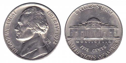 1972-P JEFFERSON NICKEL IN UNC MINT CELLO  L-19-20