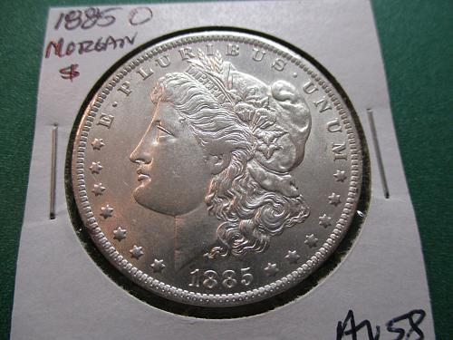1885-O  AU58 Morgan Dollar.  Item: DM 85O-08.