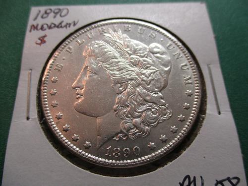1890  AU58 Morgan Dollar.  Item: DM 90-08.