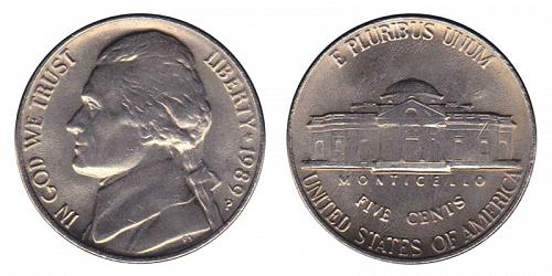1989-P JEFFERSON NICKEL FROM MINT SET IN MINT CELLO   L-19-20           STOCK PH