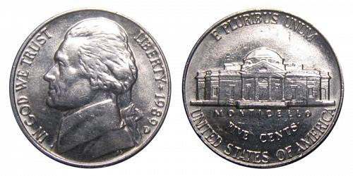 1989-D JEFFERSON NICKEL FROM MINT SET IN MINT CELLO (STOCK PHOTO)  L-19-20