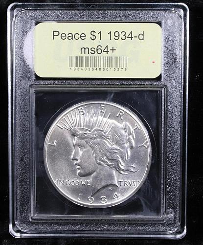 1934-d Peace $1 Graded Choice+ Unc M64+