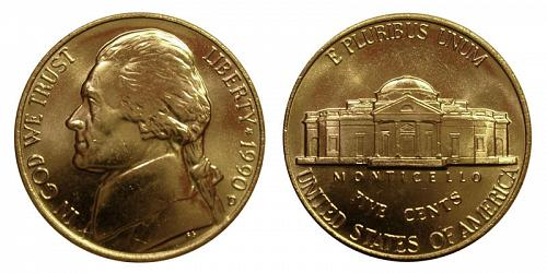 1990-D JEFFERSON NICKEL FROM MINT SET IN MINT CELLO (STOCK PHOTO)  L-19-20