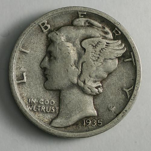 1935 D Mercury Dime VG