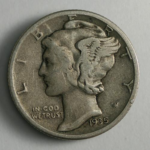 1935 P Mercury Dime F