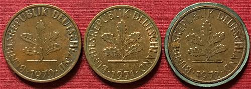 Germany 1970-1972 F [F - Stuttgart Mint] - 1 Pfennig