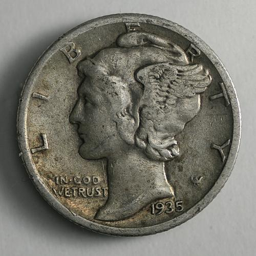 1935 S Mercury Dime F