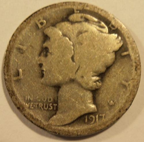 1917 S Mercury Silver Dime (17SEW2)
