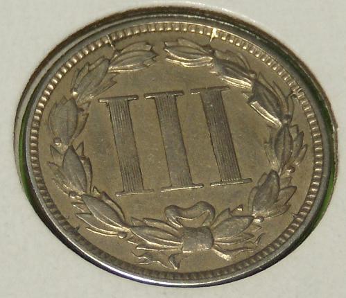 1865 Three Cent Nickel  AU55  #3N-1865-1