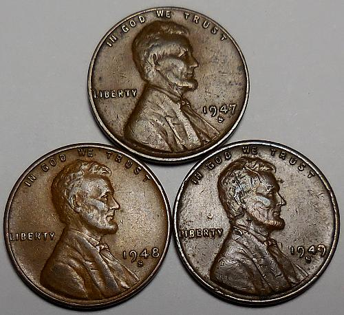 3 Lincoln Wheat Cents 1947-S 1948-S 1949-S