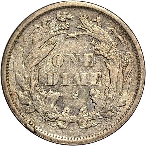 1875-S AB Above Bow Seated Dime AU - ToughCOINS