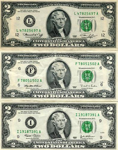 3 - $2.00 Bills   Series 1976, 1995 & 2003  About Uncirculated