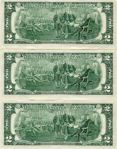3 - $2.00 Bills   Series 1976, 1995 & 2003  Uncirculated & Nice !