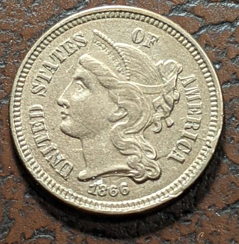 1866 XF THREE CENT NICKEL