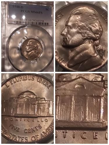 1940D Jefferson Nickel PCGS MS 66 FS