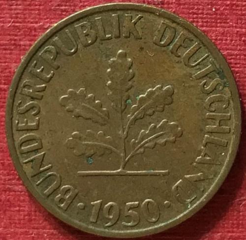 Germany 1950 G [G - Karlsruhe Mint - see dash] - 1 Pfennig [#1]