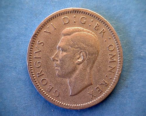 """1948 GREAT BRITAIN SIX PENCE  """"KING GEORGE V1"""""""