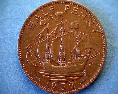 1952 GREAT BRITAIN HALF PENNY KING GEORGE V1